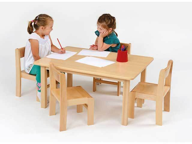 Solid Beech Rectangular Table H:53cm & 4 Stacking Chairs H:31cm
