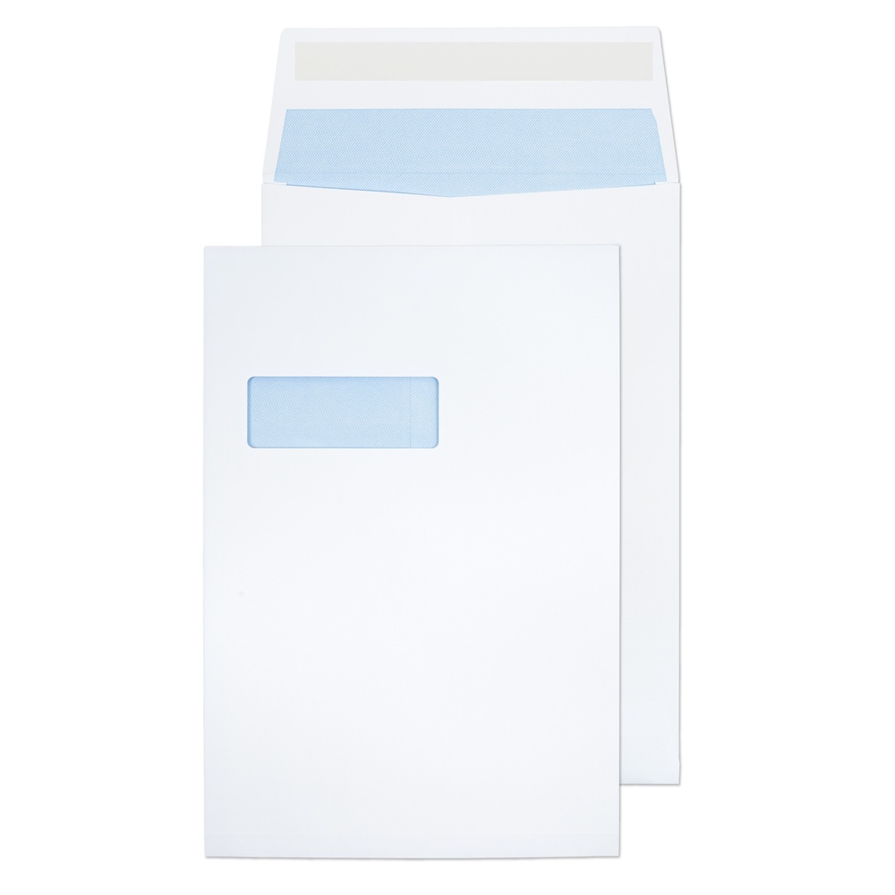 C4 Gusset Window Envelopes Peel & Seal White