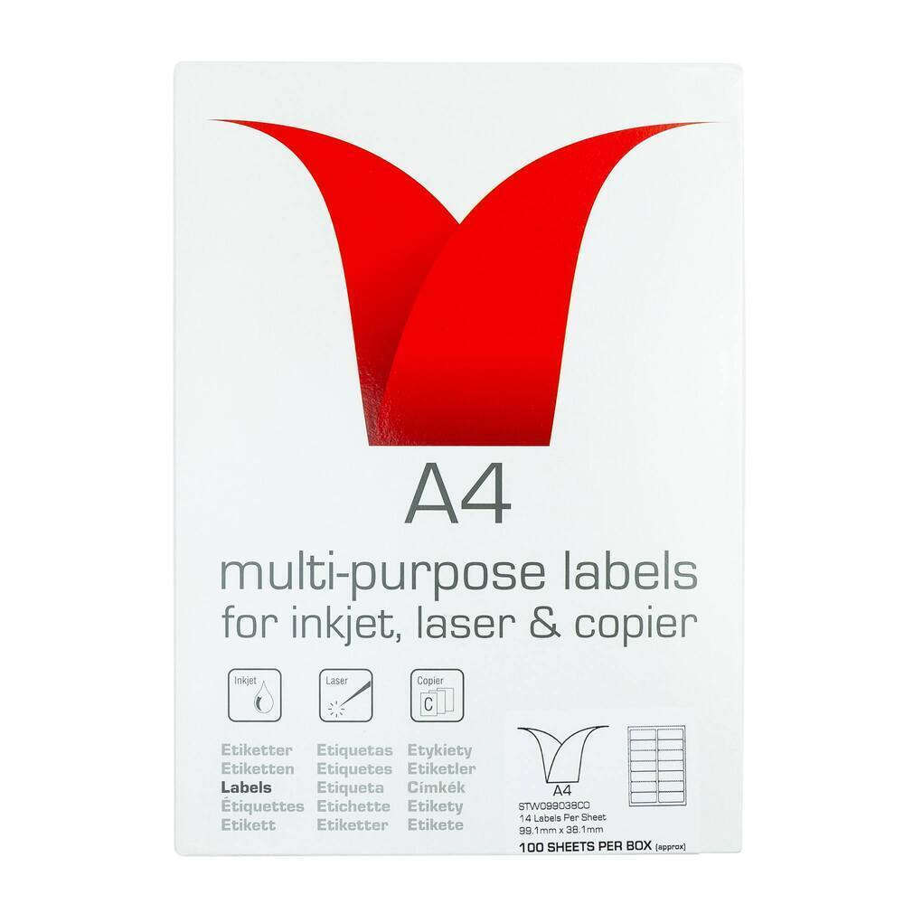 Copier & Laser Labels A4 Round Corners - 14 Per Sheet