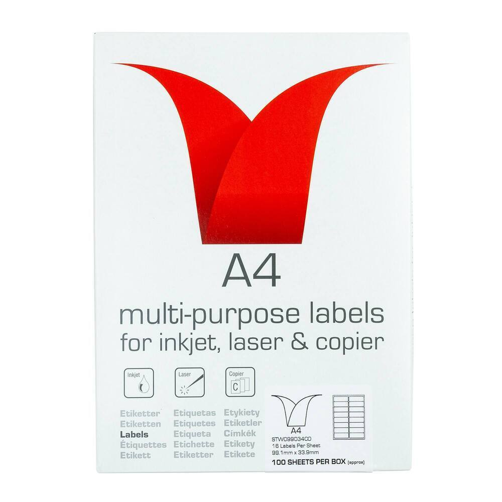 Copier & Laser Labels A4 Round Corners - 16 Per Sheet