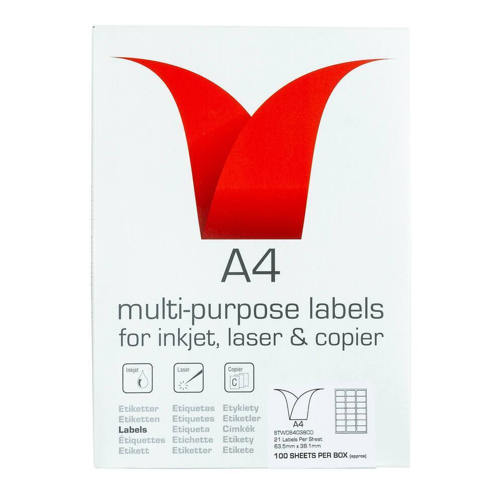 Copier & Laser Labels A4 Round Corners - 21 Per Sheet