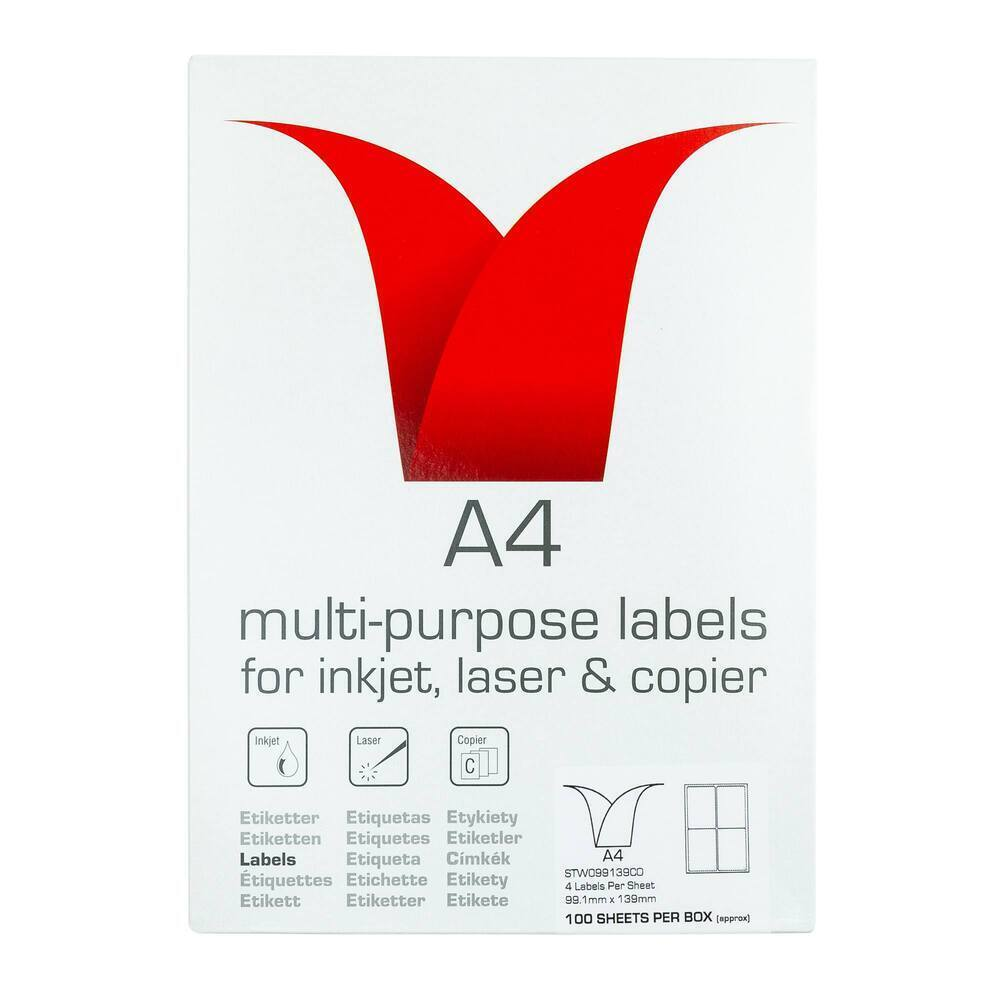 Copier & Laser Labels A4 Round Corners - 4 Per Sheet