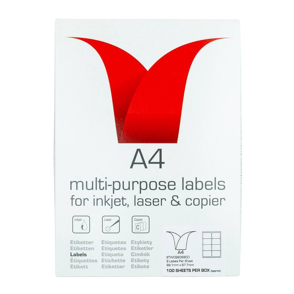 Copier & Laser Labels A4 Round Corners - 8 Per Sheet