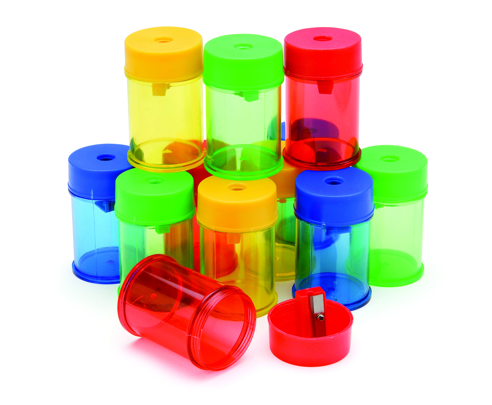 Pencil Sharpener Plastic Canister Single Hole