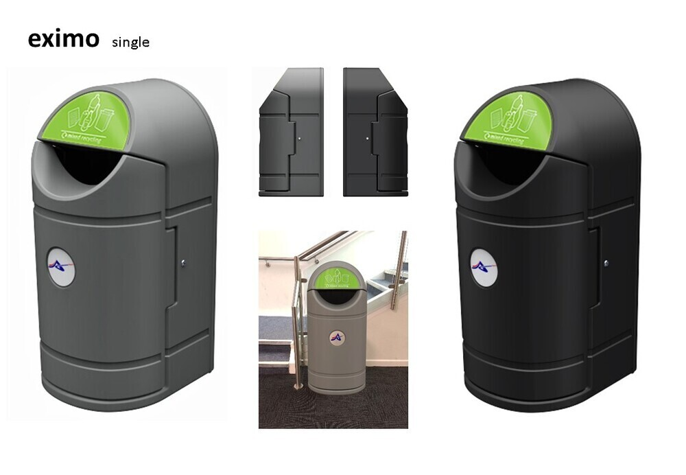 EXIMO Single Waste Bin inc.Decals: (mixed recycling & general waste)