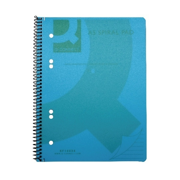 A5 Transparent Coloured Spiral Notebooks - Blue