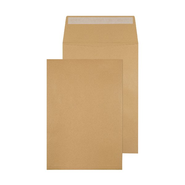 C4 Gusset Non-Window Envelopes Peel & Seal Manilla -((V))