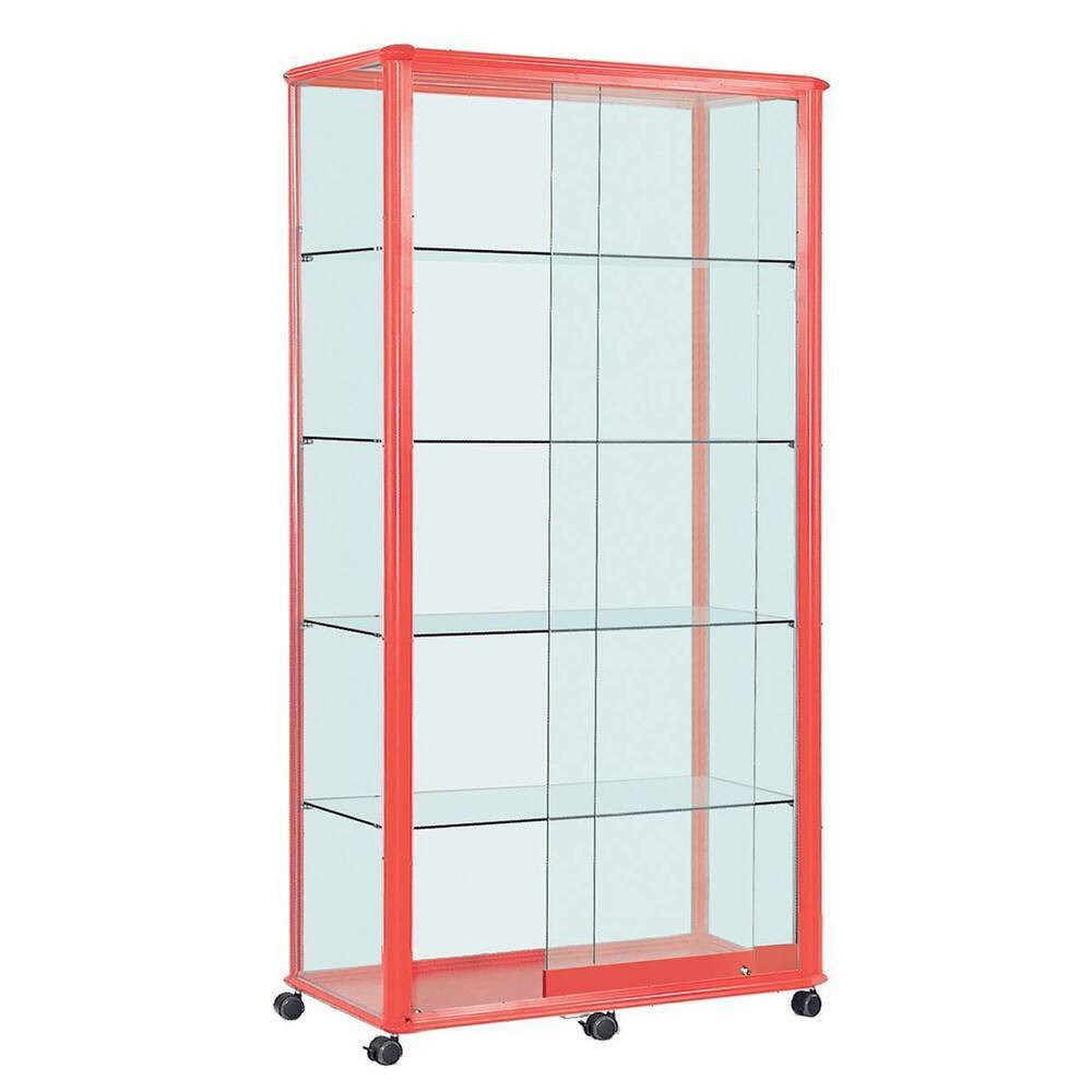 Shield Glazed Display Illuminated Wide Tower 2000 X 1000 X 500mm Red