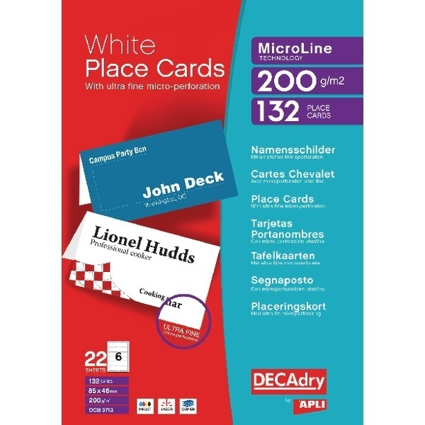 Decadry Perforated Placecard 85X46mm White