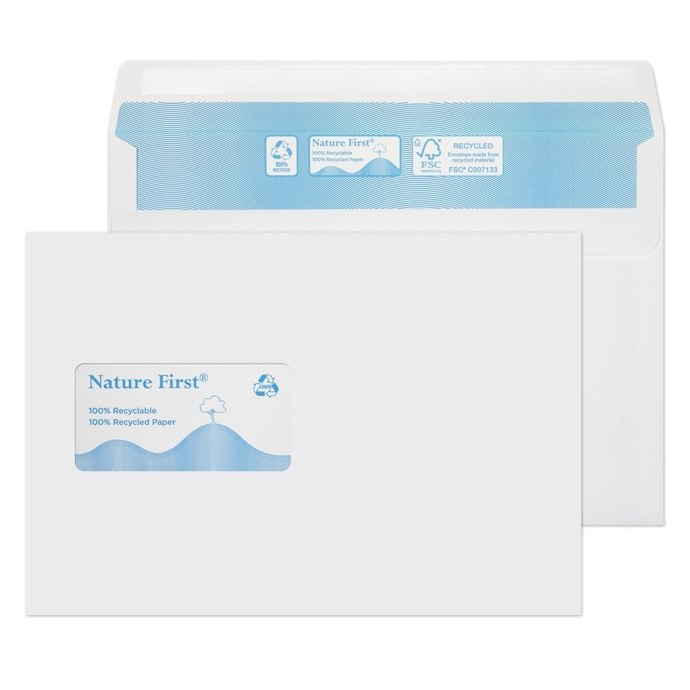 Recycled C5 Wallet Self Seal Non-Window Envelopes White 90gsm