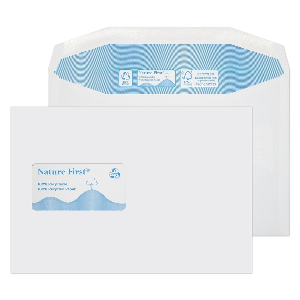 Recycled C5 Wallet Self Seal Window Envelopes White 90gsm