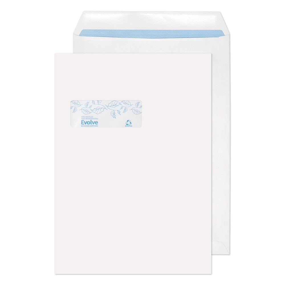 Recycled C4 Pocket Self Seal Window Envelopes White 100gsm