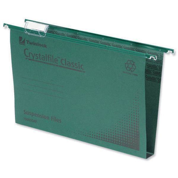 Crystalfile 50mm Suspension Files Foolscap Green