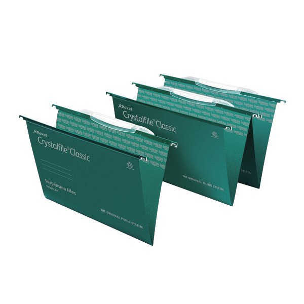 Crystalfile V Bottom Suspension Files Foolscap Green
