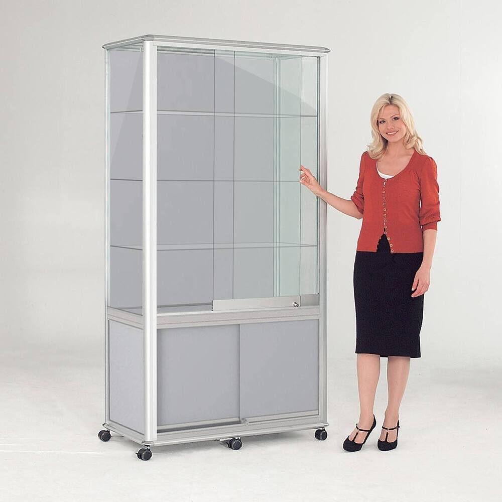 Shield Glazed Display Tower With Cupboard 2000 X 1000 X 500mm White