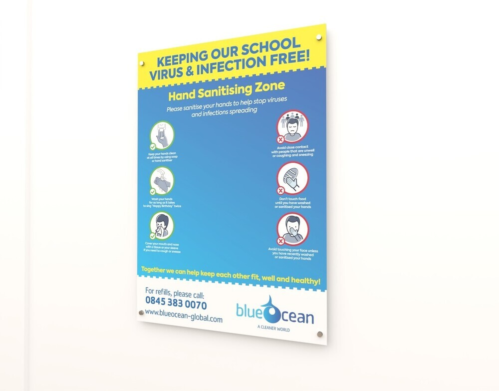 BlueOcean A2 Sanitising Station Zone Sign Board