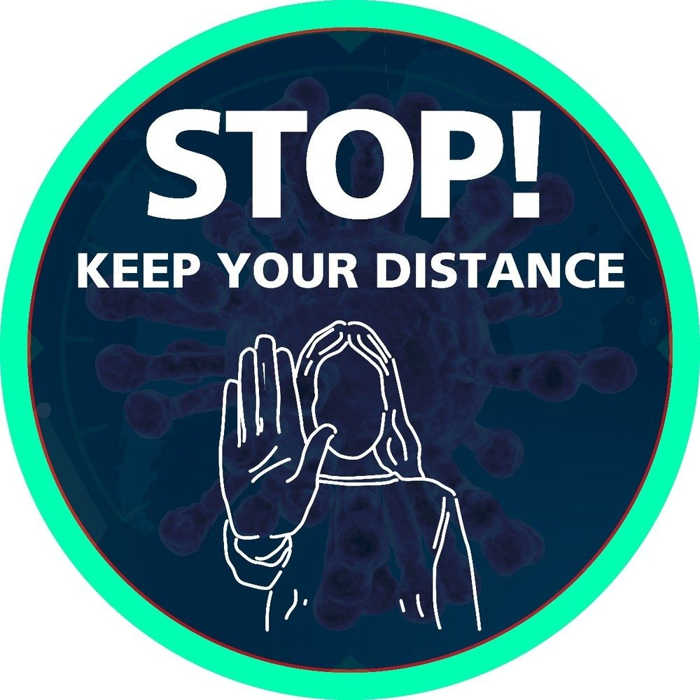 Stop! Keep Your Distance Self Adhesive Floor Sign